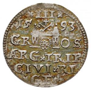 trojak 1593, Ryga, Iger R.93.1.a (R1), rzadka odmiana z...