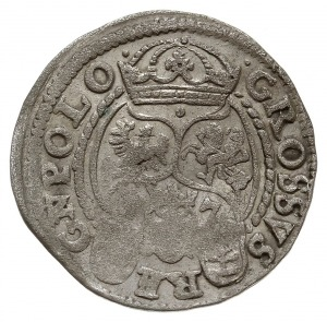 grosz 1597, Poznań, Aw: Popiersie króla w koronie w pra...