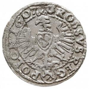 grosz 1607, Kraków, popiersie w obwódce, na rewersie he...