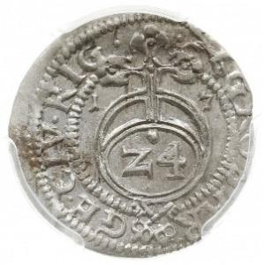 grosz 1617, Ryga, Aw: Tarcza herbowa pod koroną i napis...