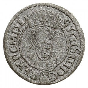szeląg 1594, Olkusz, Aw: Monogram w koronie, jabłko w n...