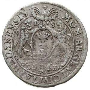 ort 1663, Gdańsk, herb Lewek w tarczy dzieli datę 16-63...