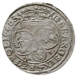 szóstak 1663/A-T, Kraków, herb Ślepowron na rewersie, o...