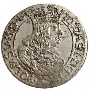szóstak 1663/AT, Kraków, herb Ślepowron na rewersie, ob...