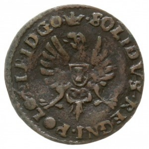 """szeląg 1650, Bydgoszcz, na awersie monogram, pod nim """"g..."""