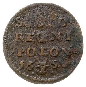 szeląg 1650, Wschowa, na awersie monogram, pod nim herb...
