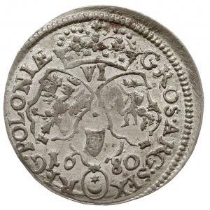 szóstak 1680, Bydgoszcz, popiersie króla w płaszczu, po...