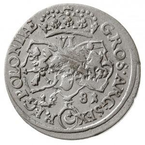 szóstak 1681, Kraków, popiersie króla w zbroi i wieńcu ...