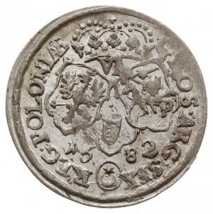 szóstak 1682, Bydgoszcz, popiersie króla w wieńcu lauro...