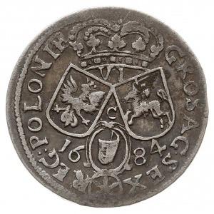 szóstak 1684, Kraków, popiersie króla w koronie i zbroi...