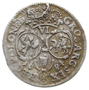 szóstak 1684/SVP, Bydgoszcz, popiersie króla w wieńcu l...