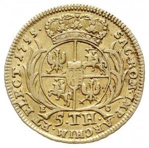 5 talarów (august d'or) 1755, Lipsk, Aw: Ukoronowane po...
