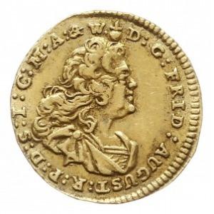 1/4 dukata 1743, Drezno, Aw: Popiersie i napis, Rw: Tar...