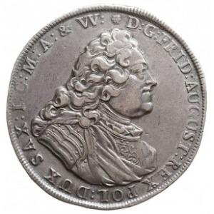 talar 1739, Drezno, Aw: Popiersie króla i napis, Rw: Dw...