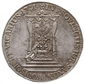 półtalar wikariacki 1741, Drezno, Aw: Król na koniu i n...