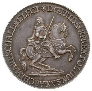 półtalar wikariacki 1742, Drezno, Aw: Król na koniu i n...