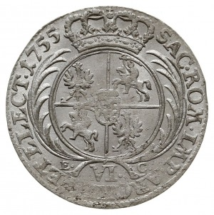 szóstak 1755, Lipsk, na rewersie nominał VI i litery E-...