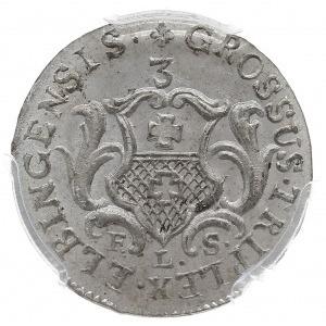 trojak 1763/FLS, Elbląg, z napisem GROSSUS, Iger E.63.2...