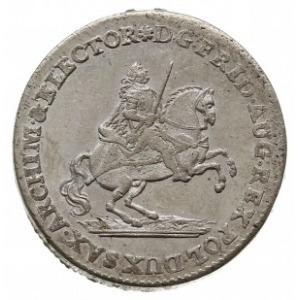 dwugrosz wikariacki 1742, Drezno, Aw: Król na koniu i n...