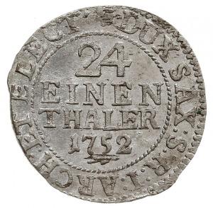 1/24 talara (grosz) 1752 FWôF, Drezno, z hakiem pod dat...