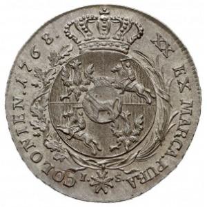 półtalar 1768 I-S, Warszawa, włosy króla w przepasce, k...