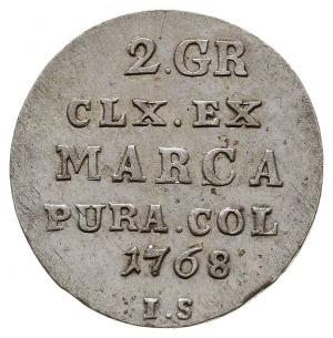 2 grosze srebrem (półzłotek) 1768 IS, Warszawa, Plage 2...