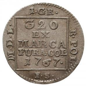 grosz srebrem 1767 F.S., Warszawa, odmiana z wąską koro...
