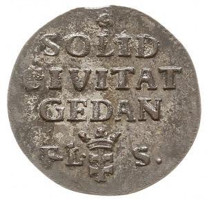 szeląg 1766 F.L.S., Gdańsk, mały monogram, srebro, Plag...