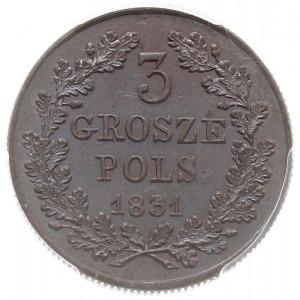 3 grosze (trojak) 1831, Warszawa, łapy Orła proste, kro...