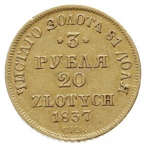 3 ruble = 20 złotych 1837 П-Д / СПБ, Petersburg, złoto ...