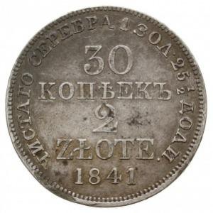 30 kopiejek = 2 złote 1841 MW, Warszawa, Plage 380, Bit...