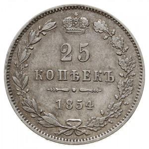 25 kopiejek 1854 MW, Warszawa, wariant z małą koroną, p...