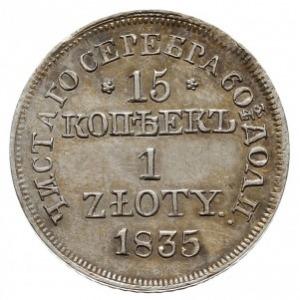 15 kopiejek = 1 złoty 1835 MW, Warszawa, wariant bez kr...