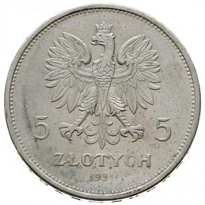 5 złotych 1931, Warszawa, Nike, Parchimowicz 114d, pięk...