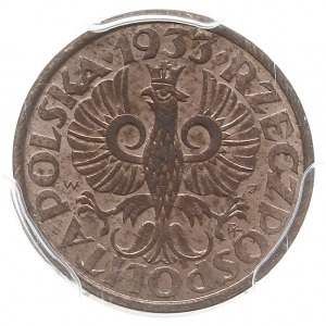 1 grosz 1933, Warszawa, Parchimowicz 101h, moneta w pud...