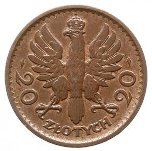 20 złotych 1925, Warszawa, Głowa Kobiety, miedź 4.59 g,...