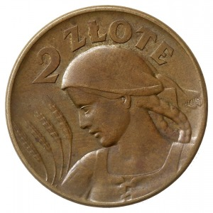2 złote 1924, Warszawa, Głowa kobiety z kłosami, brąz 8...