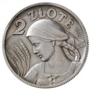 2 złote 1927, Warszawa, Głowa kobiety z kłosami, na rew...