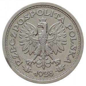 1 złoty 1928, Warszawa, nominał w wieńcu z gałązek dębo...