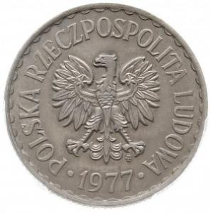 1 złoty 1977, Warszawa, próba technologiczna w miedzion...