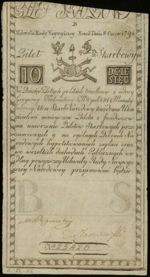 10 złotych polskich 8.06.1794, seria B, numeracja 25426...