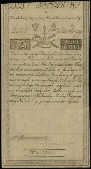 25 złotych polskich 8.06.1794, seria D, numeracja 30944...