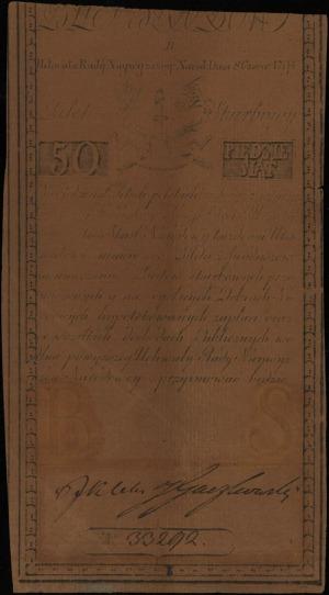 50 złotych polskich 8.06.1794, seria B, numeracja 33292...