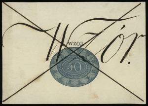 50 złotych 1824, wzór strony odwrotnej, dwukrotnie prze...