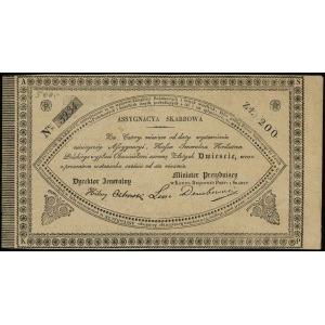 asygnacja skarbowa na 200 złotych 1831, podpisy: Hilary...