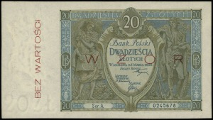 20 złotych 1.03.1926, seria A, numeracja 0245678, po ob...
