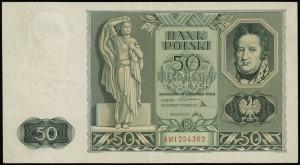 50 złotych 11.11.1936, seria AM, numeracja 1254302, Luc...