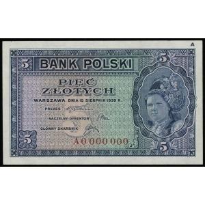 5 złotych 15.08.1939, seria A numeracja 0000000, dodatk...
