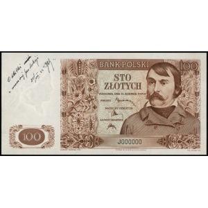 100 złotych 15.08.1939, seria J, numeracja 000000, na l...