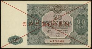 20 złotych 15.05.1946, seria A, numeracja 1234567, dwuk...